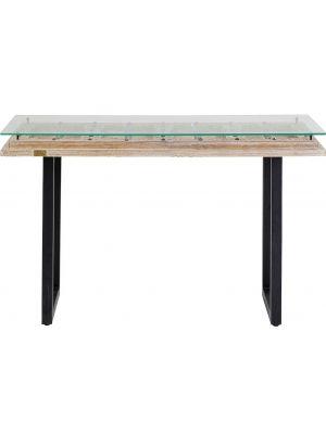 Kare Design - Kalif Sidetable - L120 x B45 x H80 cm - Hout met Glazen Tafelblad
