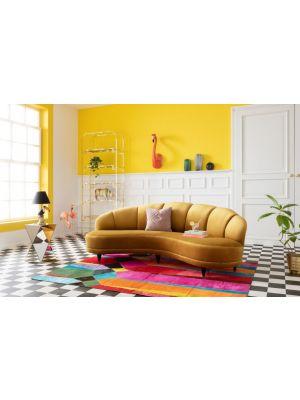 Kare Design Sofa Dschinn 3-zits Velvet Bank - B233 x D122 x H78 cm - Geel Fluweel - Houten poten