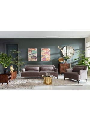 Kare Design Sofa Proud 3-zits Velvet Bank - B214 x D86 x H81 cm - Grijs Fluweel - Zwart metalen poten
