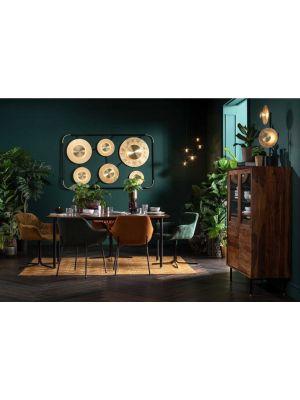Kare Design Avignon Stoel Armleuningen - Set van 2 - Groene Velours Ribstof