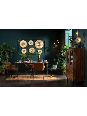 Kare Design Colmar Draaibare Eetkamerstoel - Groen Fluweel - Zwart Metalen Poten