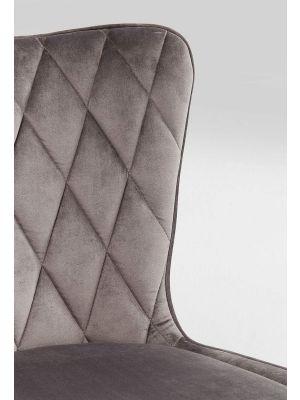 Kare Design Marshall Stoel - Grijs Fluweel - Zwarte Houten Poten