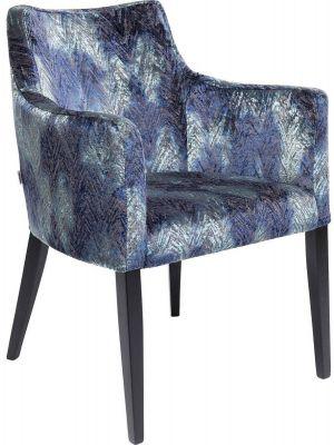 Kare Design Mode Stoel Armleuningen - Stof Fancy Blue - Zwarte Houten Poten