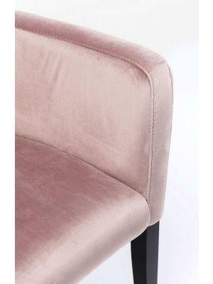 Kare Design Mode Stoel Armleuningen - Fluweel Poederroze - Zwarte Houten Poten