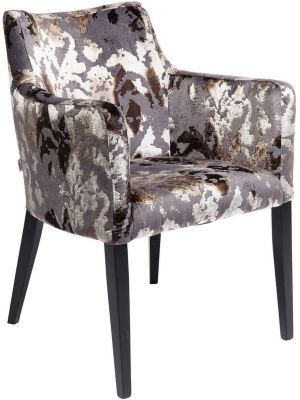 Kare Design Mode Stoel Armleuningen - Stof Sublime - Zwarte Houten Poten