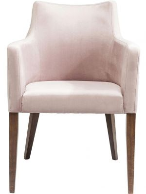Kare Design Mode Stoel Armleuningen - Roze Fluweel - Houten Poten