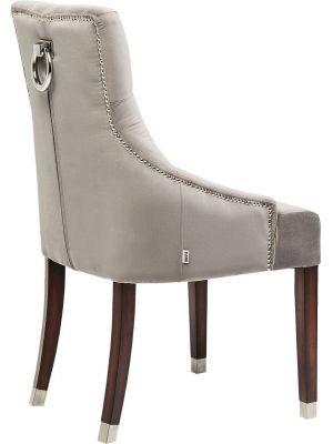 Kare Design Prince Velvet Stoel - Fluweel Grijs - Houten Poten