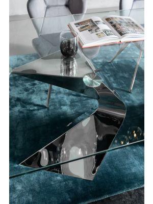 Kare Design Gloria Eettafel - 200 x 100 x 75 cm - Glazen Tafelblad -  Chromen Metalen Poten
