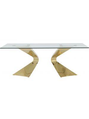 Kare Design Gloria Eettafel - 200 x 100 x 75 cm - Glazen Tafelblad - Goudkleurige Metalen Poten