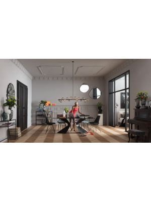 Kare Design Gloria Eettafel - B200 x D100 x H75 cm - Glazen Tafelblad - Zwarte Metalen Poten