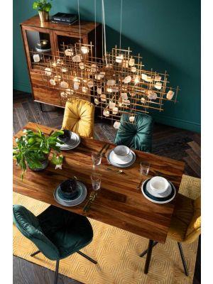 Kare Design Ravello Eettafel - L160 x B80 x H76 cm - Tafelblad Sheeshamhout - Metalen Poten