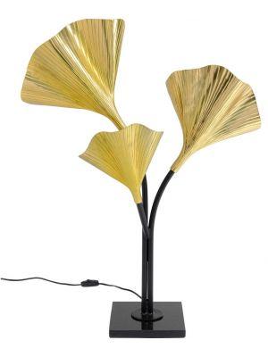 Kare Design Tafellamp Gingko - 3-Lichts - Goudkleurig met Marmeren Voet