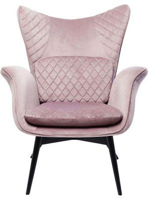 Kare Design Tudor Fauteuil - Fluweel Roze - Zwarte Houten Poten