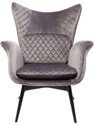 Kare Design Tudor Fauteuil - Fluweel Zilvergrijs - Zwarte Houten Poten
