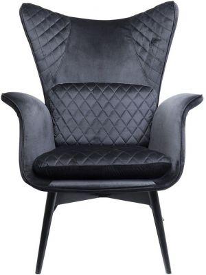 Kare Design Tudor Fauteuil - Fluweel Zwart - Zwarte Houten Poten