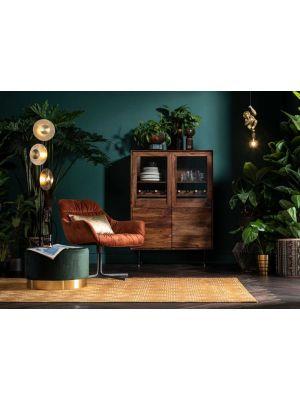 Kare Design Ravello Vitrinekast - B100 x D45 x H140 cm - Sheeshamhout - Zwarte Metalen Poten