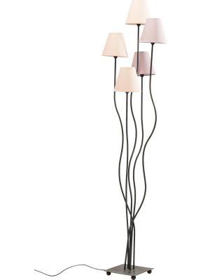 Kare Design Flexible Berry Cinque Vloerlamp 5-lichts - Roze Lampenkappen - Zwart Metaal