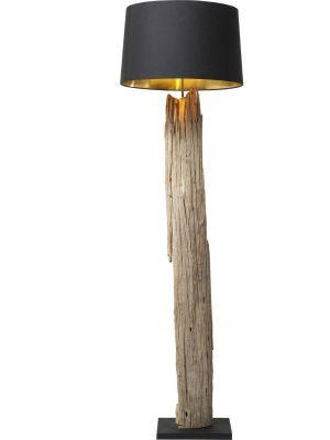 Kare Design Vloerlamp Nature Straight 1-Lichts Ø45 x H171 - Zwarte Lampenkap