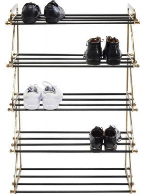 Kare Design Walk Five Schoenenrek - B66 x D34 x H100 cm - Messing en Zwart Metaal