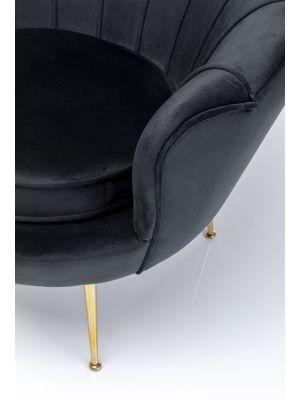 Kare Design Water Lily Velvet Fauteuil - Zwart Fluweel