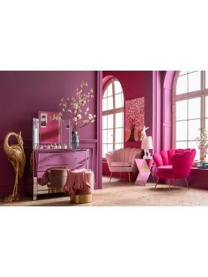 Kare Design Water Lily Fauteuil - Roze Fluweel - Goudkleurige Metalen Poten
