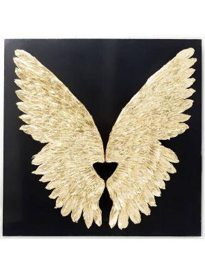 Kare Design Wings Gold Black Wanddecoratie - B120 x D8 x H120 cm - Goudkleurig met Zwarte Lijst