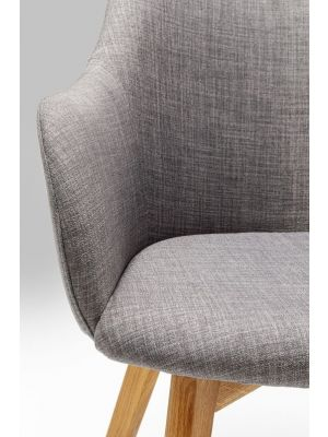 Kare Design - Stoel Lady Armleuningen - Stof Grijs - Eikenhouten Poten