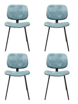 Kare Design Barber Stoel - Set van 4 - Lichtblauw Kunstleer - Zwarte Gepoedercoat Metalen Poten