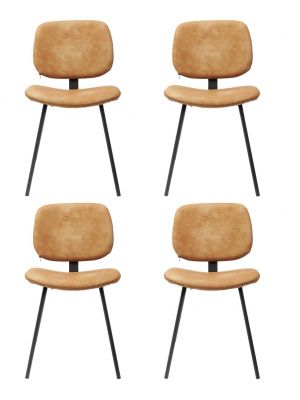 Kare Design Barber Stoel - Set van 4 - Oranje Kunstleer - Zwarte Gepoedercoat Metalen Poten