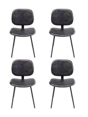 Kare Design Barber Stoel - Set van 4 - Zwart Kunstleer - Zwarte Gepoedercoat Metalen Poten