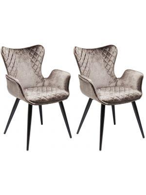 Kare Design Dream Stoel - Set van 2 - Fluweel Bruin - Zwart Metalen Poten