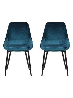 Kare Design East Side Velvet Stoel - Set van 2 - Fluweel Petrol Blauw - Zwart Metalen Poten
