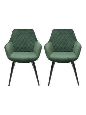 Kare Design Harry Velvet Stoel - Set van 2 - Groen Fluweel