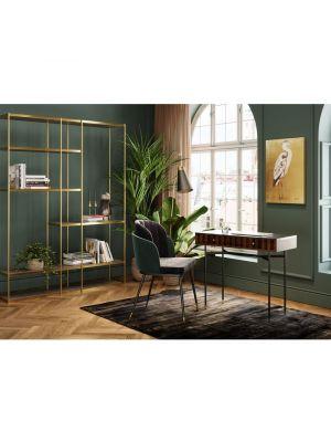 Kare Design Hojas Velvet Stoel - Set van 2 - Grijs Fluweel
