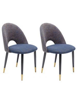 Kare Design Hudson Stoel - Set van 2 - Stof Blauw - Zwarte Metalen Poten