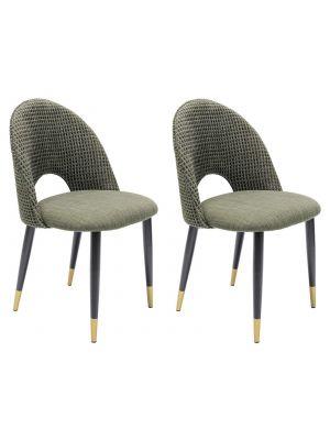 Kare Design Hudson Stoel - Set van 2 - Stof Groen - Zwarte Metalen Poten