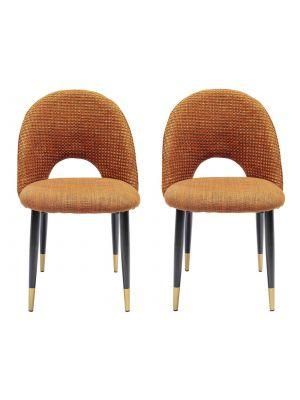 Kare Design Hudson Stoel - Set van 2 - Stof Oranje - Zwarte Metalen Poten
