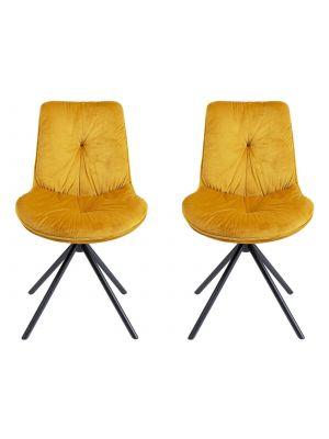 Kare Design Mila Stoel - Set van 2 - Geel Fluweel - Zwart Metalen Poten