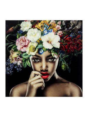 Kare Design Pretty Flower Woman Fotoglas - 120 x 120 cm