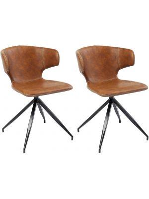 Kare Design Rusty Stoel - Set van 2 - Bruin Kunstleer - Zwart Metalen Poten