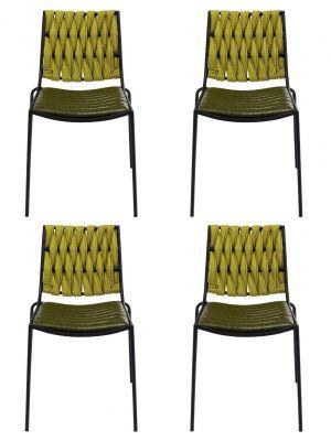 Kare Design Two Face Eetkamerstoel - Set van 4 - Groen Kunstleer/Stof - Zwart Stalen Frame