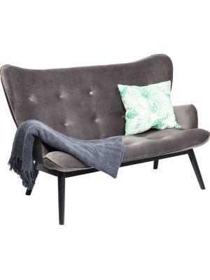 Kare Design Vicky Velvet 2-Zits Bank B140 x D76 x H95 cm - Grijs Fluweel