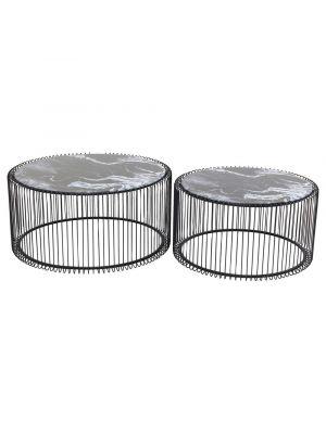 Kare Design Wire Salontafel Rond - Set van 2 - Zwart Marmer