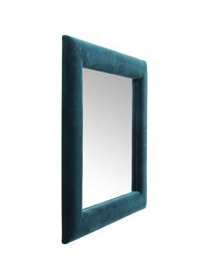 Kare Design Spiegel Vierkant - B100 x H100cm - Fluweel Blauwgroen