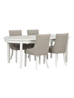 Rowico Koster Ovale Eettafel - Uitschuifbaar Wit - L163-253 x B103 x H76 cm