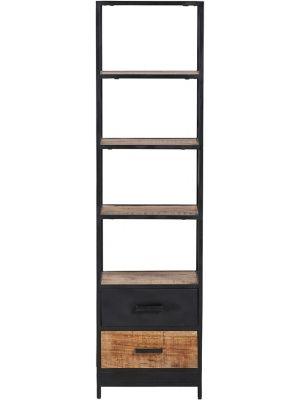 24Designs Fabrique Boekenkast - B50 x D42 x H188 - Mangohout - Metaal