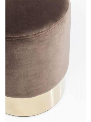 Kare Design Poef Cherry - Ø35x42 - Bruin Fluweel - Messing