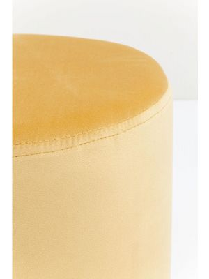 Kare Design Poef Cherry - Ø35x42 - Oranje Fluweel - Messing