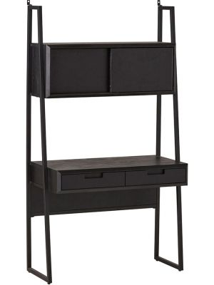 24Designs Rafael Bureau - B100 x D150 x H180 cm - Acaciahout - Metaal Zwart