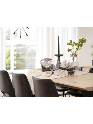 Rowico Melville Eettafel - Bruin Tafelblad - Metalen O-frame - L210 x B95 x H75 cm